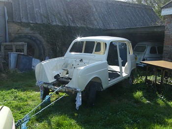 Towing the Gordini from the lean-to