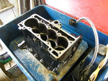 ENgine block in a parts washer