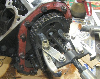 Using a hub puller to remove the camshaft sprocket