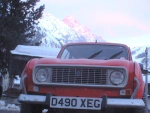 Rosalie in the Alpes at sunset