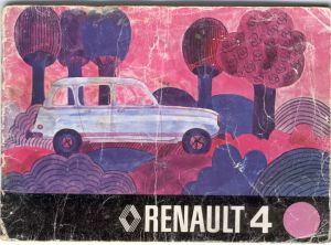 1973 handbook cover has surreal drawing of Renault 4 sith pink trees in the background