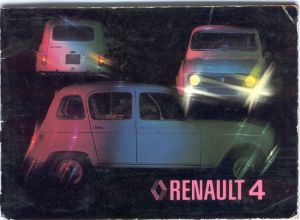 1976 handbook cover feature a white Renault 4 photographed under coloured lighting